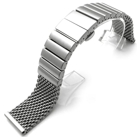 316L Mesh Watch Band on Deployant Clasp