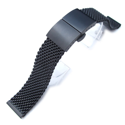 20mm Milanese Thick Mesh, Dome Deployant PVD Black