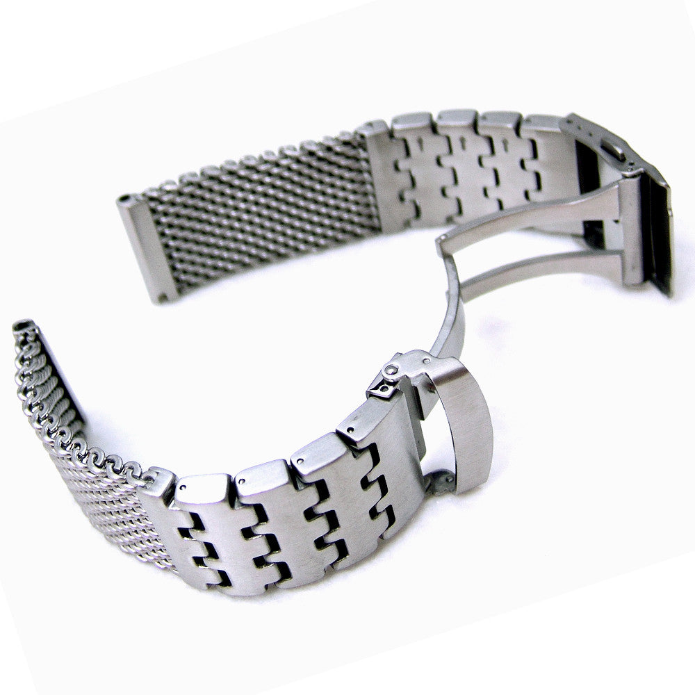 Wire Mesh Watch Band on Diver Clasp | Taikonaut watch band