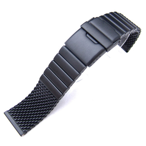 PVD Black Mesh Band on Diver Clasp