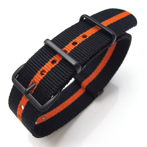 NATO James Bond Black & Orange Nylon  Strap