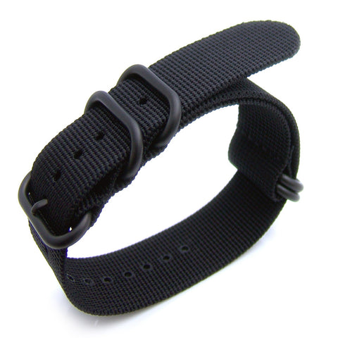 22mm Black NATO Zulu 5 Rings, Heavy Nylon