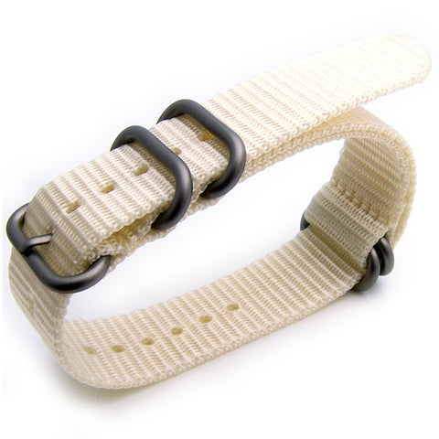 White Rice NATO Zulu 5 Rings, Heavy Nylon