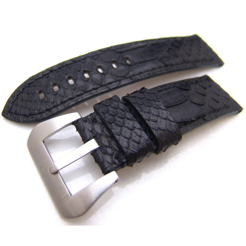 24mm Watch Strap Genuine Python Black