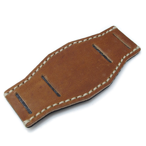 Saddle Brown Calf BUND Pad, Beige Wax Stitch, XL