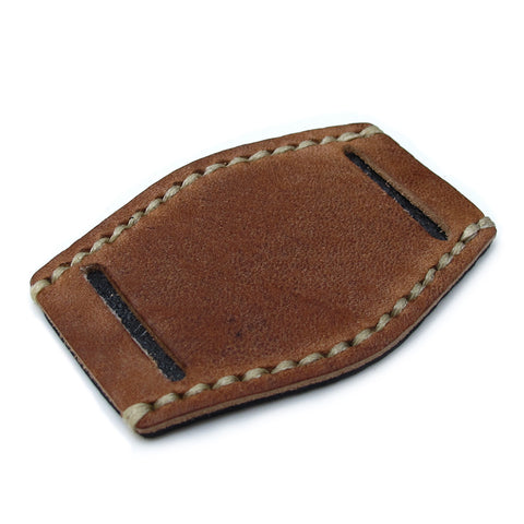 Saddle Brown Calf BUND Pad, Beige Wax Stitch