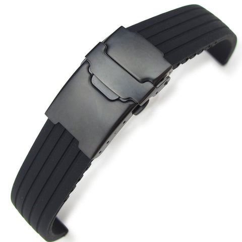 Black 4 Grooves Design Silicone, PVD Black Clasp