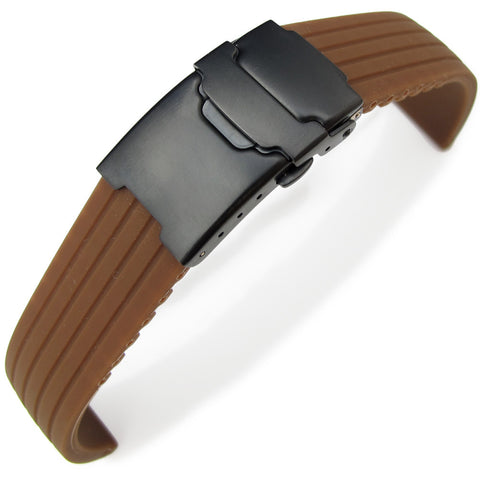 Brown 4 Grooves Design Silicone, PVD Black Clasp