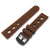 Brown Punch Holes Silicone Strap, PVD Black Buckle