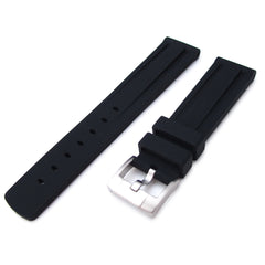 20mm Black Double Groove Silicone Strap