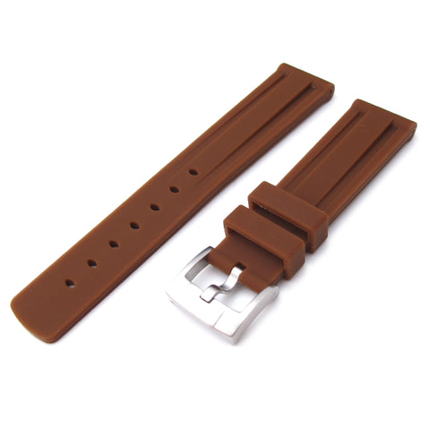 20mm Brown Double Groove Silicone Strap