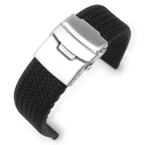 Tire Tread Silicone Watch Strap, Brushed Clasp