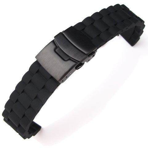 20mm Silicone with PVD Black Diver Clasp