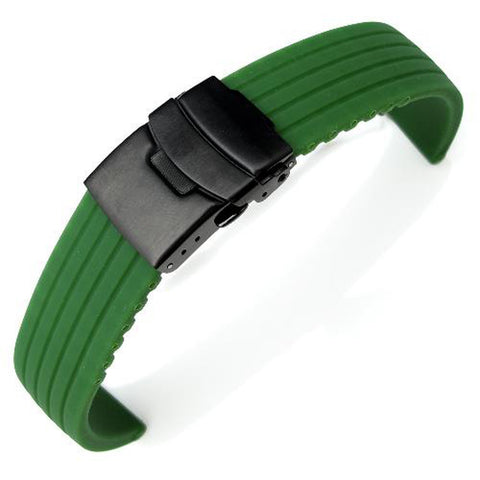 Green 4 Grooves Design Silicone, PVD Black Clasp