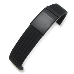 24mm Grooves Silicone, Black OME Clasp