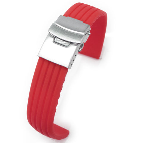 20mm Red Grooves Silicone Diver Strap