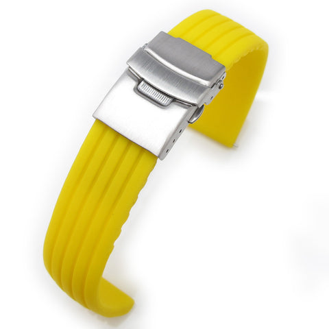 20mm Yellow Grooves Silicone Diver Strap