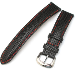 18mm  Genuine Italian Calf Black Knit Strap