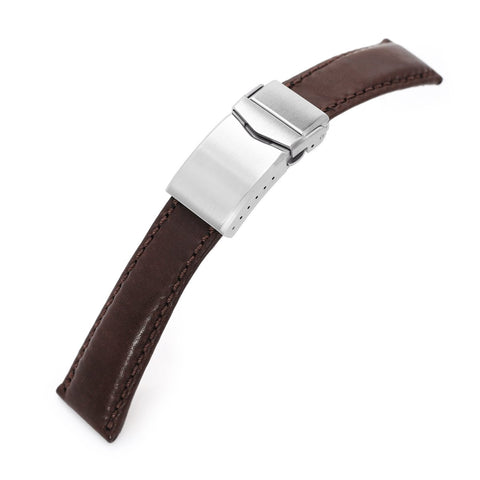 20mm MiLTAT Italian Brown Calf One-piece, V-Clasp