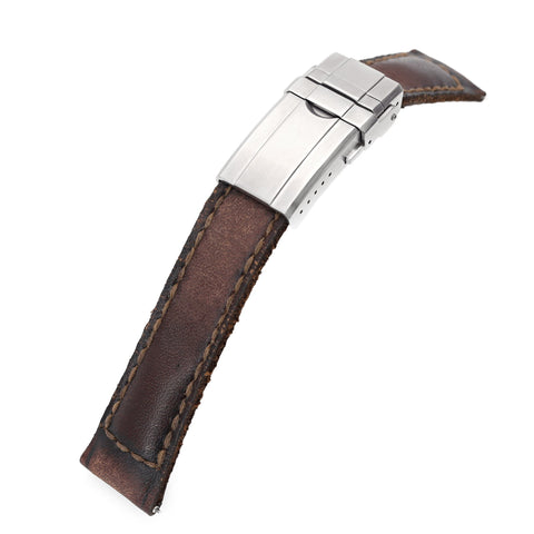 20mm Gunny X MT Dark Brown Handmade Quick Release Leather Strap One-piece, Turning Clasp