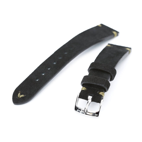 20mm Black Quick Release Italian Suede Leather Strap,   Military Green St.