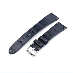 20mm MiLTAT Genuine American Alligator Square Scale, Semi Matte Dark Blue Watch Strap