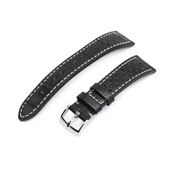 20mm MiLTAT Rally Racing Genuine Alligator Black Watch Strap, Beige Stitching