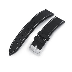 German made 20mm Matte Black Geniune Calf Watch Band, Brushed