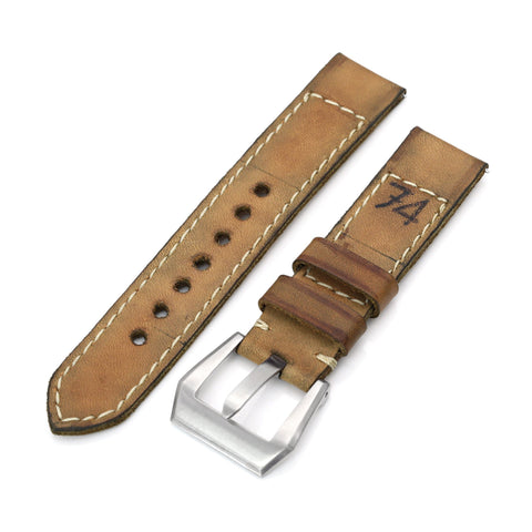 20mm Gunny X MT '74' Light Brown Handmade Quick Release Leather Strap