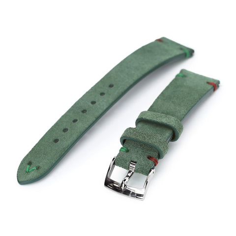 20mm Emerald Green Quick Release Italian Suede Leather Strap, Red - Green St.