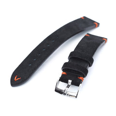 21mm Black Quick Release Italian Suede Leather Watch Strap | Strapcode