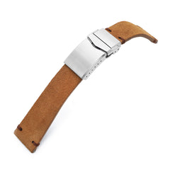 20mm or 22mm MiLTAT Camel Genuine Leather One-piece Suede Quick Release Watch Strap V-Clasp Taikonaut Watch Bands
