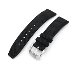 20mm, 21mm or 22mm Strong Texture Woven Nylon Black Watch Strap, Brushed