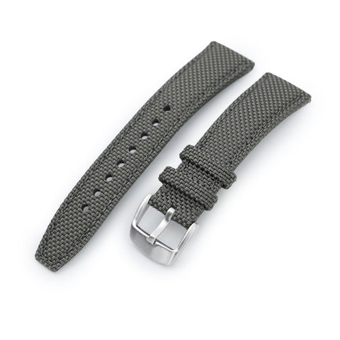 Strong Texture Woven Nylon Military Grey Watch Strap, Brushed