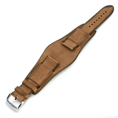 22mm Italian Handmade Bund Military Style Double-layer Watch Strap, Brown