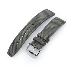 20mm, 21mm or 22mm Strong Texture Woven Nylon Military Grey Watch Strap, Polished