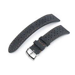 20mm or 22mm MiLTAT Rally Racing Dark Grey Nubuck Watch Strap, Brown Stitching