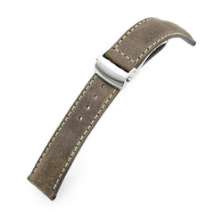 MiLTAT 20mm, 22mm Brown Distressed Leather Roller Deployant Watch Band, Beige Stitching