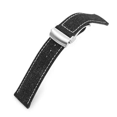 20mm or 22mm Black Canvas Watch Band Brushed Roller Deployant Buckle, Beige Stitching