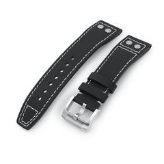 20mm to 23mm Pilot Black Kevlar Finish Rivet Lug Watch Strap, Beige Stitching, Brushed