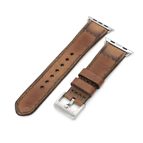 24mm Light Brown Handmade Leather Watch Strap for Apple watch