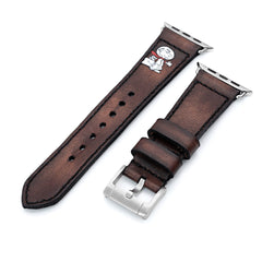24mm Brown Handmade Apple watch 4, Quick Release Leather Watch Straps