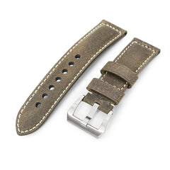 MiLTAT 24mm Genuine Olive Brown Distressed Leather Watch Strap Extra Soft, Beige Stitching