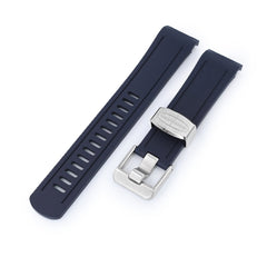 22mm Crafter Blue - Navy Blue Rubber Curved Lug Watch Band for Seiko Shogun SBDC007