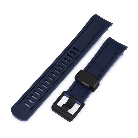 Blue Curved End Rubber for Seiko 5, PVD