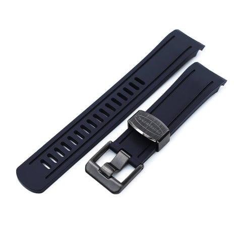 Blue Curved End Rubber for Seiko 5, Charcoal Black Buckle