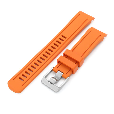 Orange Curved End Rubber for Seiko 5