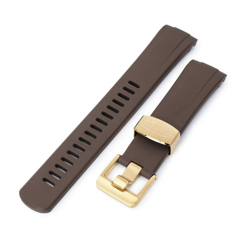 Brown Curved End Rubber for Seiko Turtle SRPC44, IP Gold Buckle