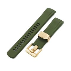 Crafter Blue 22mm Curved Lug End Military Green Rubber Dive Watch Strap for Seiko Gold Turtle SRPC44 IP Gold Buckle Taikonaut Watch Bands
