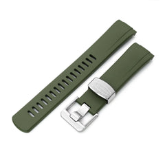 Seiko Turtle Crafter Blue Green Curved End Rubber Straps | Strapcode
